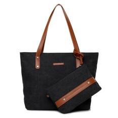 Review New Vintage Ladies Canvas Handbag Womens Tas Bahu Tas Travel Kasual Tote 2 Pcs Set Intl