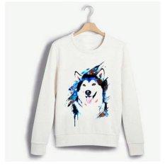 Beli New White Lady Sweater Husky Pola Printing Long Sleeved Shirt Intl Kredit