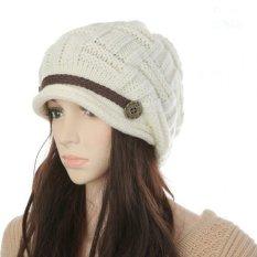Beli New Kupluk Musim Dingin Wanita Chunky Merajut Topi Baggy Hangat Penjual Topi Hiasan Kepala Putih Cicil