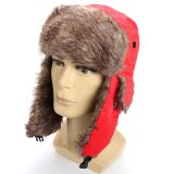 Harga Baru Wanita Musim Dingin Pria Earflap Hangat Trapper Aviator Trooper Cap Rusia Ski Topi Merah Intl Original