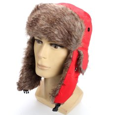 Harga Baru Wanita Musim Dingin Pria Earflap Hangat Trapper Aviator Trooper Cap Rusia Ski Topi Merah Intl Branded