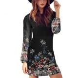 Baru Fashion Kasual Wanita O Leher Lengan Panjang Jersey Rayon Motif Gaun Mini Terbaru