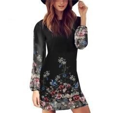 Dimana Beli Baru Fashion Kasual Wanita O Leher Lengan Panjang Jersey Rayon Motif Gaun Mini Oem