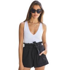 Spesifikasi Baru Jersey Rayon Wanita Tinggi Ikat Pants Bang Pendek Kasual Padat Hitam Online