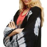 Harga New Women Chiffon Kimono Cardigan Beach Cover Up Contrast Print Long Loose Casual Blouse Top Black Intl Asli