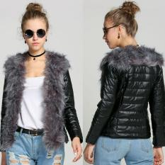 Baru Wanita Wanita Faux Mantel Kulit Bulu Luaran Jaket Hangat Pakaian Hitam-Intl