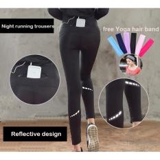 Baru Wanita Celana Olahraga Pinggang Tinggi Ritsleting Tak Terlihat Pocket Celana Yoga Desain Reflektif Malam Celana Lari Pakaian Yoga-Intl