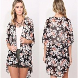 Harga New Women Floral Loose Shawl Kimono Cardigan Boho Chiffon Tops Jacket Blouse Intl New