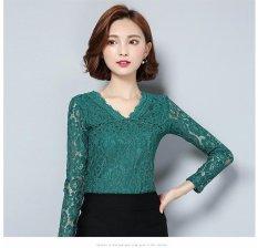 Toko Baru Wanita Renda Tops Fashion Santai Lengan Panjang Lace Shirt S*xy Hollow Out V Neck Blus Intl Oem Tiongkok