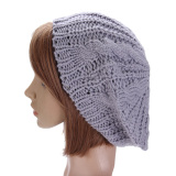Beli Baru Wanita Musim Dingin Hangat Rajutan Topi Rajut Bungkuk Topi Kupluk Baret Longgar Abu Abu Muda