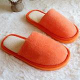 Spek New Wanita Pria Anti Slip Sepatu Datar Lembut Winter Warm Cotton House Indoor Sandal Orange