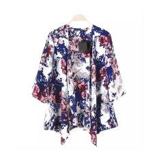 Baru Buka 24 Wanita Pakaian Bermotif Bunga-bunga Berwarna Kuning Eye 3/4 Lengan Baju Laskar Ehem Tipis Longgar Mantel Vintage Cardigan Biru
