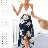 Review Baru Wanita Seksi Leher V Tanpa Lengan Blackless Lace Top Splicing Floral Cetak Hem Tidak Teratur Pantai Gaun Sifon Intl