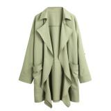Spesifikasi Baru Wanita Jas Hujan Padat Lapel Pocket Rolled Lengan Kardigan Kasual Longgar Pakaian Luar Intl Murah
