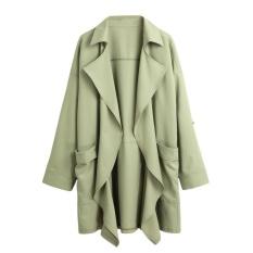 Spesifikasi Baru Wanita Jas Hujan Padat Lapel Pocket Rolled Lengan Kardigan Kasual Longgar Pakaian Luar Intl Merk Not Specified