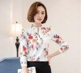 Beli Baru Wanita Vintage Kaos Fashion Elegan Kantor Cetak Floral Kemeja Blus Jersey Rayon Kausal Tops Plus Ukuran Cicil