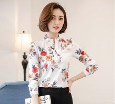 Jual Baru Wanita Vintage Kaos Fashion Elegan Kantor Cetak Floral Kemeja Blus Jersey Rayon Kausal Tops Plus Ukuran Branded Murah