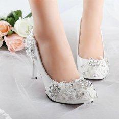 BARU Wanita Putih Floral Stiletto Rhinestone Pernikahan Sepatu Bridal High Heels Hadiah Putih-Intl-Intl