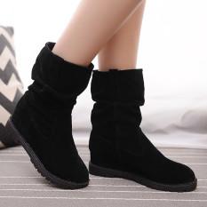 Harga New Wanita Musim Dingin Meningkat Pertengahan Betis Ksatria Kulit Lunak Martin Tabung Tengah Sepatu Boots Hitam Internasional Yang Murah