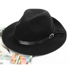 Harga Baru Sabuk Wanita Musim Dingin Hangat Wol Topi Fedora Trilby Gadis Pinggiran Lebar His Hat Topi Koboi Hitam Baru Murah