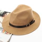 Beli New Wanita Musim Dingin Hangat Wol Belt Fedora Trilby Cap G*rl Wide Brim Cowboy Hat Unta Intl Intl Unbranded Asli