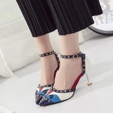 Baru Sepatu Wanita Eropa dan Amerika Serikat Kecil Rakasa Trendi Trendi Modis Bertumit Tinggi Sandal Biru-Intl