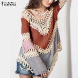 Spesifikasi Baru Zanzea Boho Wanita V Neck Crochet Kimono Wanita Ukuran Plus Shirt Panjang Cotton Tunic Tops Orange Grey Intl Lengkap