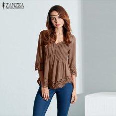 Baru ZANZEA Wanita Elegan Renda Baju Blus Musim Gugur Blusas Asimetris Atasan Kasual Solid Baru V Leher 3/4 Lengan Pullovers (khaki) -Intl