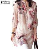 Jual Baru Zanzea Wanita Fashion Leher V Kancing Kemeja Linen Ukuran Blus Kasual Antik Motif Bunga Atasan Panjang Merah Intl Antik