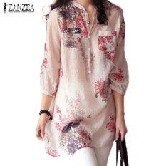 Beli Baru Zanzea Wanita Fashion Leher V Kancing Kemeja Linen Ukuran Blus Kasual Antik Motif Bunga Atasan Panjang Merah Intl Zanzea Online