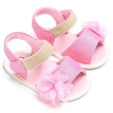Newborn-18 Bulan Musim Panas Bayi Perempuan Anak Laki-laki Bunga Slip-On Sol Lembut Sepatu Lucu Sepatu Kasual S1851 Pink