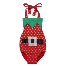 Newborn Bayi Girls Natal Bodysuit Halter Backless Polka Dots Baju Monyet-Internasional
