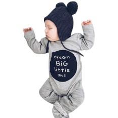 Bayi Yang Baru Lahir Baby Boy Girl Lengan Panjang Huruf Baju Monyet Jumpsuit Pakaian Pakaian-Internasional