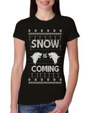 Desain Terbaru Salju Akan Datang Punya Stark Jelek Natal Junior Fit Kaos Katun untuk Wanita Hitam-Intl