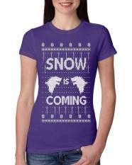 Desain Terbaru Salju Akan Datang Punya Stark Jelek Natal Junior Fit Kaos Katun untuk Wanita Ungu-Intl