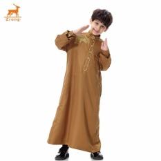 Terbaru Orang Tua-anak Muslim Bordir Jubah Muda Mannational Costume Boys Arab Islamic Jubahs Remaja Pakaian (Unta) -Intl