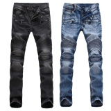 Newly France Men Style Distressed Moto Pants Biker Light Blue Black Jeans Intl Terbaru