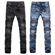 Newly France Men Style Distressed Moto Pants Biker Light Blue Black Jeans Intl Diskon Indonesia