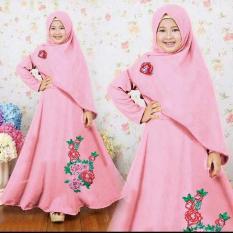 Newone Shop Zaskia Dusty Pink Gamis Syari Anak Wanita