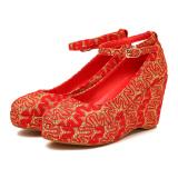 Beli Neytiri2017 Merah Pernikahan Sepatu Sepatu Pernikahan Merah Emas Terbaru