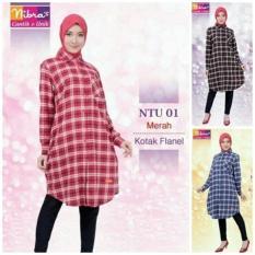 Nibras NTU 01 - Tunik Katun Flanel - Jual Atasan Tunik Blus Muslim Ori