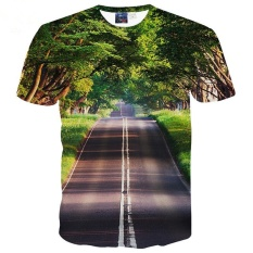 Pemandangan Yang Bagus T-shirt untuk Pria/wanita 3D Tshirt Cetak Pohon Hijau dan Bersih Road Casual Tops Tees T Shirt -Intl
