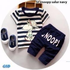 Nicer- Baju Setelan Celana Panjang Anak- St Snuupy Full Navy