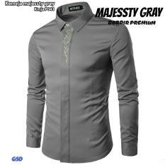 Spesifikasi Nicer Fashion Kemeja Pria P041 Grey Baru