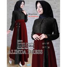 Promo Nicer Gamis Syari Simple Elegant Dress Linda Hitam Maron Ncr Terbaru