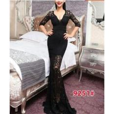 Jual Nicer Gaun Pesta Impor Long Dress Brukat S*xy 9251 Black Di Dki Jakarta