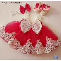 Jual Nicer Minidress Imut Anak Cewe Dress Kid Brukat Red Antik