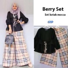 Iklan Nicer Setelan Baju Celana Kulot Muslim Wanita Set Kotak Mocca