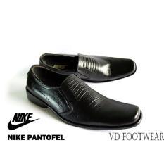 Nike - sepatu Slop Formal Hitam Kulit Asli / Gratis kaos kaki