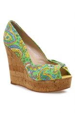 Review Pada Nine West Chillpill Peeptoe Wedges Green Multi
